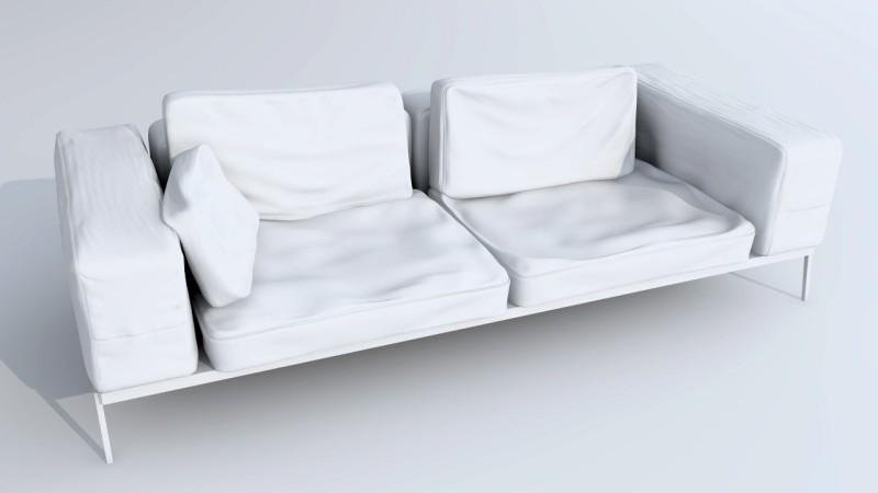modello 3d divano pelle