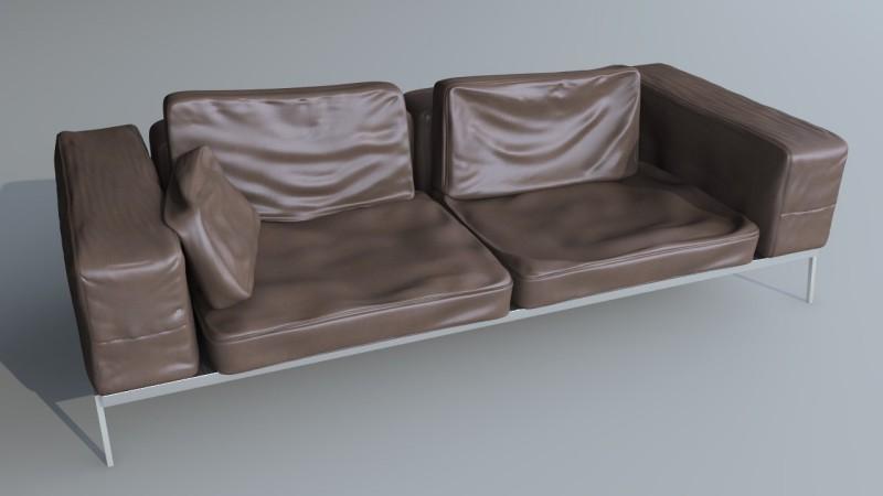 rendering divano pelle struttura alluminio cromo