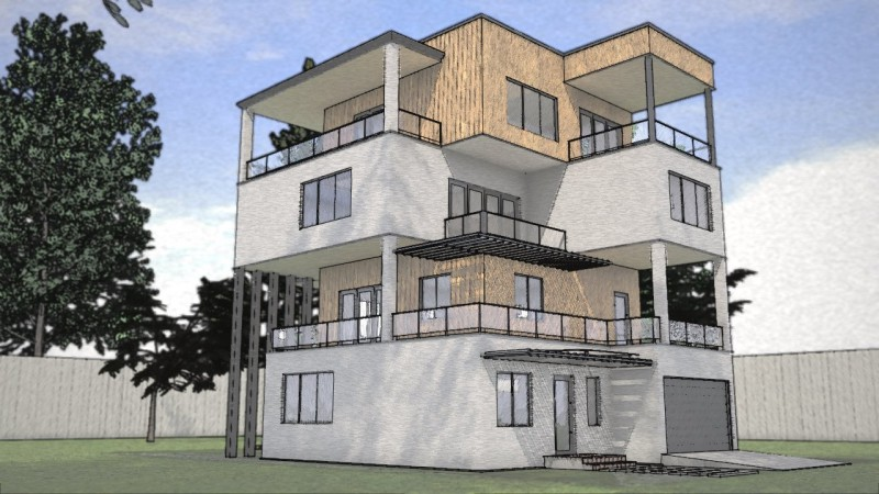 sketch render casa unifamiliare schizzo